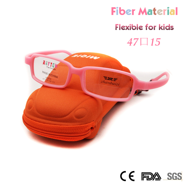 ZBZ Kids Glasses Frames Girls with Strap Cute Pink Frame Flexible New Fiber Unbreakable Myopia Glass with Car Case