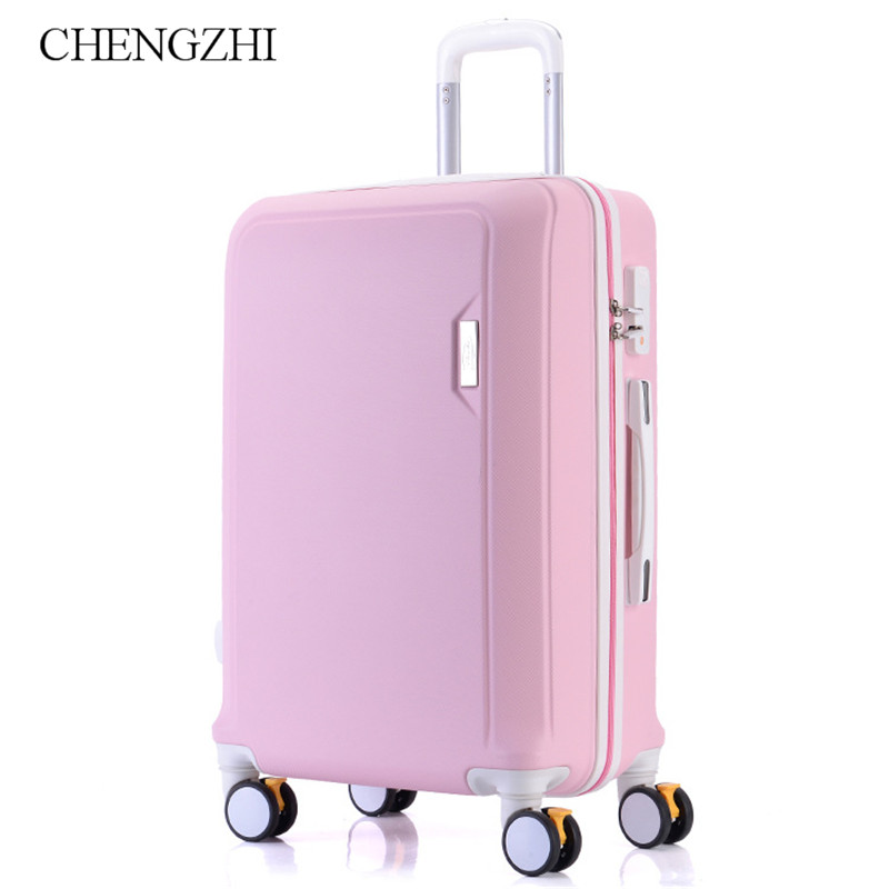 """CHENGZHI20""""22""""24""""26"""" Inches Girl ABS Trolley Case Spinner Boarding Luggage Fashion Woman Rolling Suitcase Travel Bag On Wheels"""