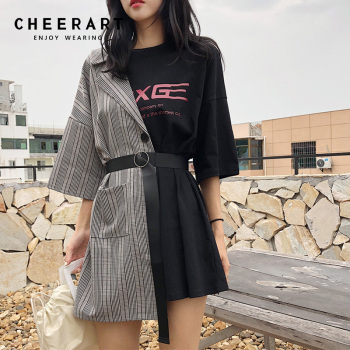 Cheerart Streetwear Splice T Shirt Dress