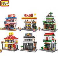 LOZ Diamond Building Blocks Mini City Street Series Architecture View Scene Children Creator DIY Toys Coffee