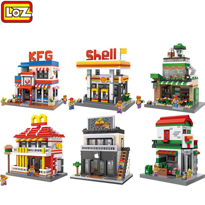 LOZ Diamond Building Blocks Mini City Street Series Architecture View Scene Children Creator DIY Toys Coffee Shop Gas Station loz architecture space shuttle mini diamond nano building blocks toys loz space shuttle diy bricks action figure children toys