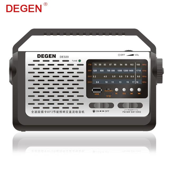 Calidad Degen de320 2 en 1 portátil FM onda corta de banda completa Radios y Reproductores MP3 disco flash USB tarjeta del TF multibanda Radios