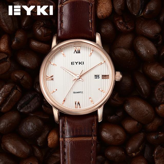 Slim Quartz Calendar Fashion Ladies Wristwatch By EYKI With Genuine Leather Strap