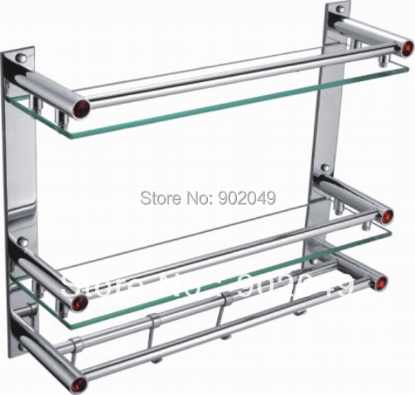 Bathroom Accessories Glass Commodity Shelf with hook Stainless Steel Tray KL-GT06A Dual Tier Kitchen Hardware Discount