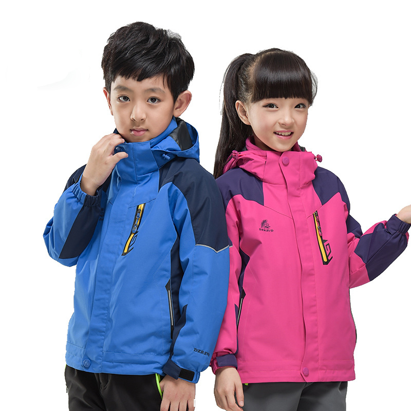 ФОТО Hiking Clothing Ski Jacket Outdoor Climbing Power Sport Waterproof Jacket Children Waterproof Patchwork Hiking Jackets Kids