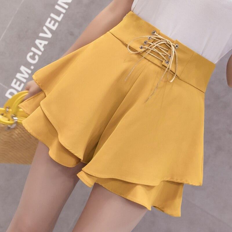 2019 Summer New Casual Wide Leg   Shorts   Womens Korean Fashion Bandage High Waist   Shorts   Sweet Woman Loose   Shorts