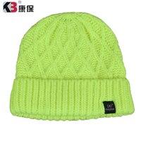 2016 חם למכור סתיו החורף סרוג אקריליק פשוט צבע מוצק כפת כובע מצנפת אקריליק רחב מימדים הכפה Cap Hat