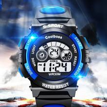 Gorąca sprzedaż wodoodporny zegarek dla dzieci chłopcy dziewczęta LED sportowe cyfrowe zegarki zegarek z gumy silikonowej dzieci dorywczo zegarek prezent 533 tanie tanio Nie wodoodporne Cyfrowy Akrylowe Klamra Szkło 23 6cm Nie pakiet 37mm RUBBER Kid s watch ROUND 25mm 15 36mm Brak