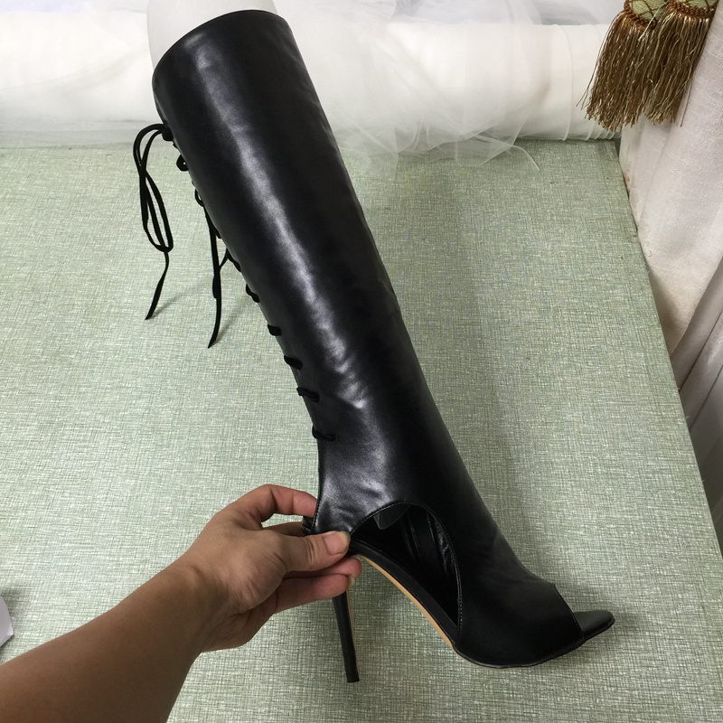 Black Knee High Peep Toe Boots For Women Long Open Heels Boots Buckle Stilettos Heel Heel Real Photo Fashion Botas Mujer Shoes nancyjayjii 2017 fashion lady black suede peep toe high heels ankle boots shoes for woman zapatos botas mujer plus size 5 14