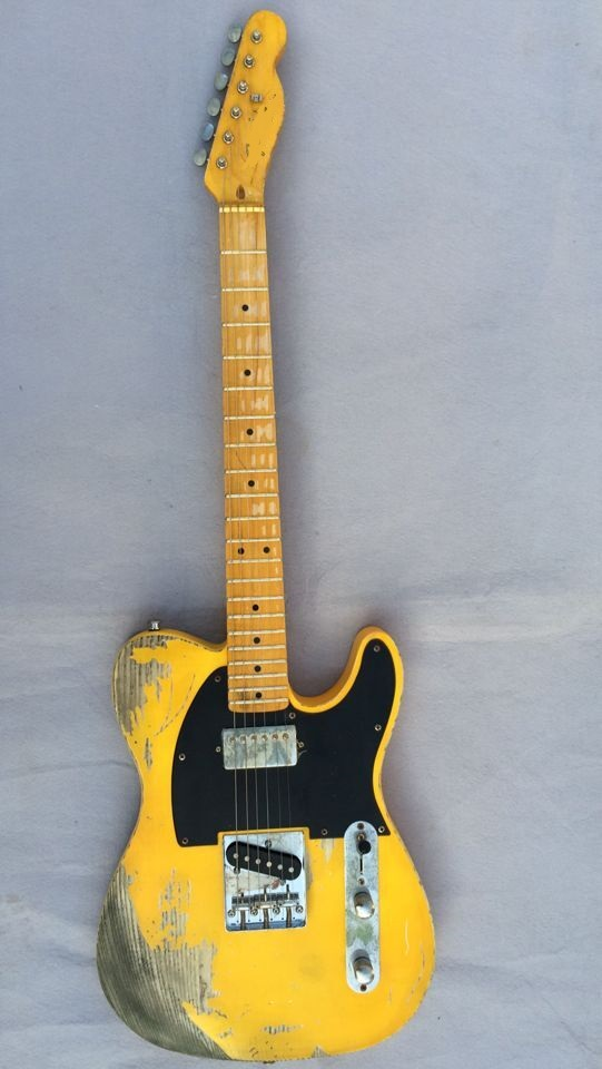 Free shipping  FD Relic handmade electric guitar  ash body yellow color humbucker neck pickups  недорого
