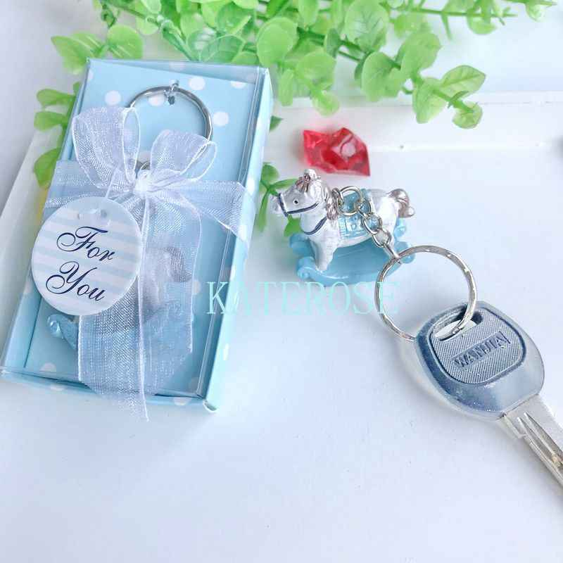 10pcs Baby Boy Birthday Party Giveaway Gifts Blue Rocking Horse Key Chain Baby Baptism Gift For Guest