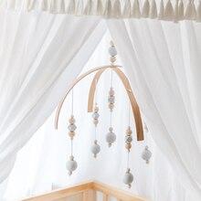 Погремушку мобильные игрушки деревянные бусы кроватки игрушки для новорожденных колокольчиков колокол Nordic украшение детской комнаты Подставки для фотографий
