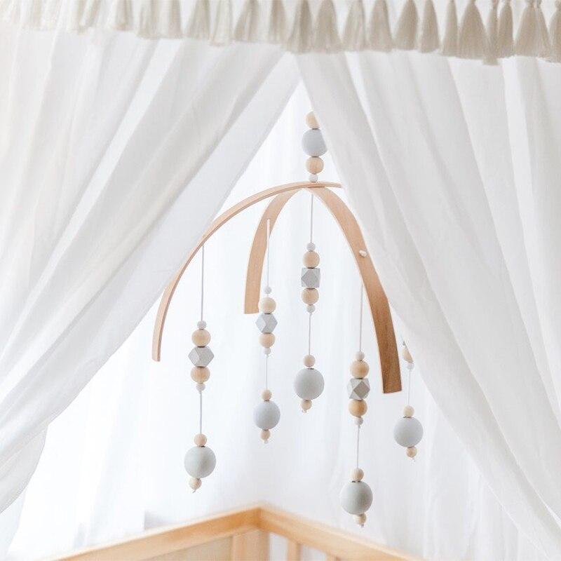 Traqueteo del bebé juguetes de madera de cuentas cuna juguete para los recién nacidos campanas de viento Bell nórdico, decoración de la habitación de bebé accesorios de fotografía