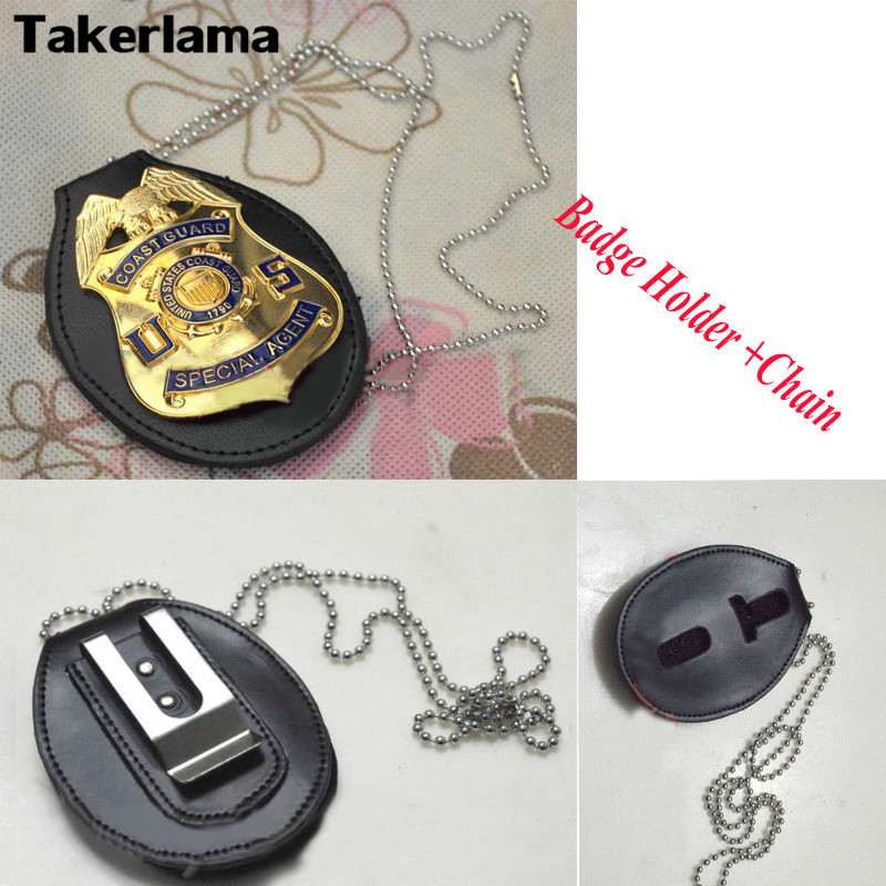 Takerlama Universal Badgeholder Leather Police Detective Badge Holder With Chain & Clip