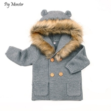 Зимний свитер с капюшоном для малышей, вязаная верхняя одежда с меховым воротником для новорожденных, кардиган для маленьких мальчиков и девочек, рождественские свитера