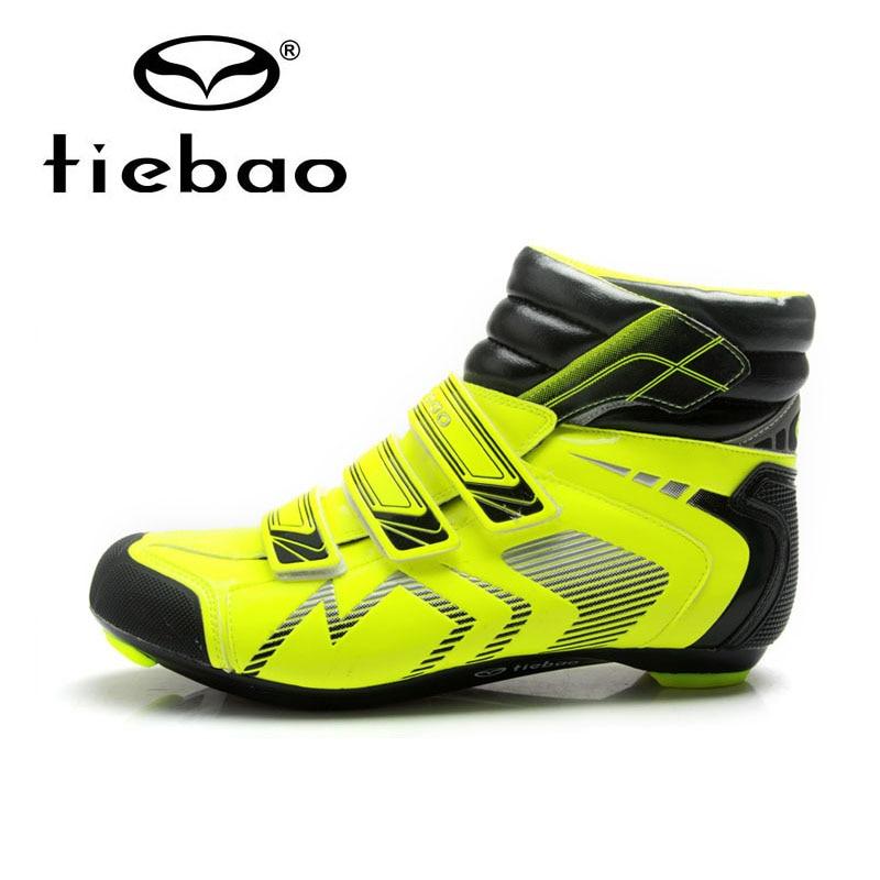 ФОТО Tiebao Professional Road Bike Shoes Winter Waterproof Cycling Shoes Auto Lock Shoes Non-slip Bicycle Boots Zapatos de ciclismo