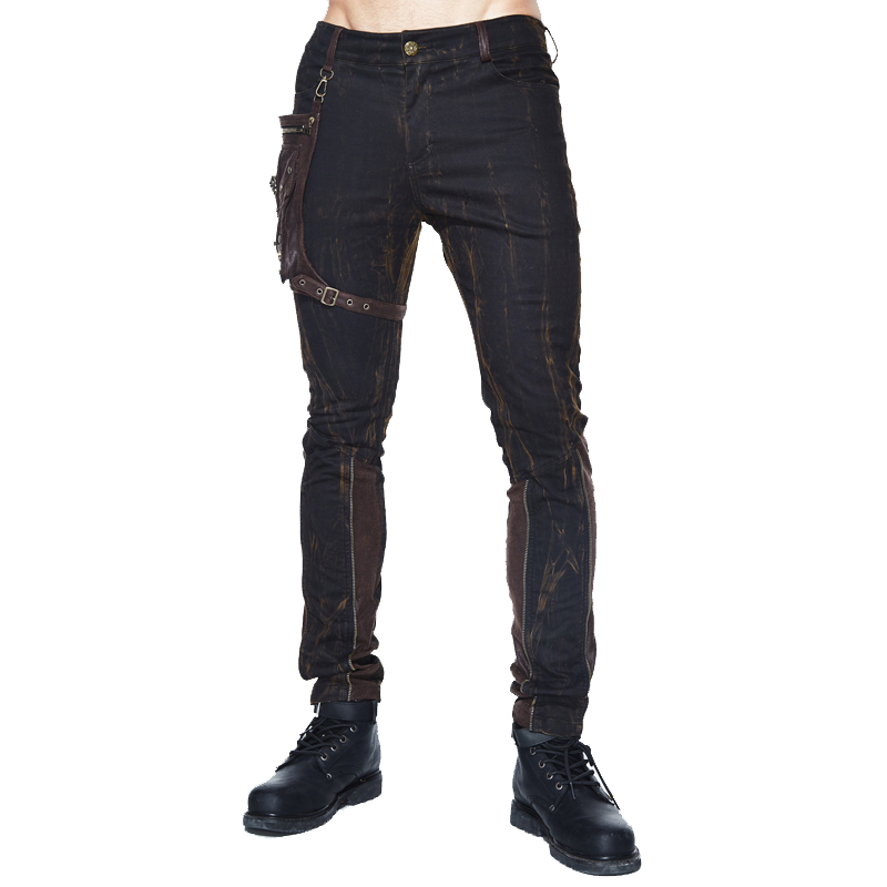 2018 New Arrival Autumn Winter Punk Pants Mens Skinny Fake Zippers Spliced Long Pants With Bag Cool Man Trousers