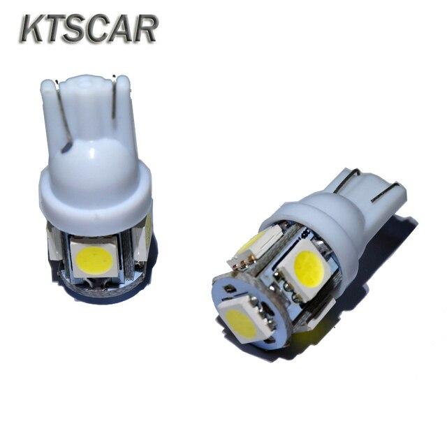 KTSCAR 100 unids/lote al por mayor luz led COCHE T10 W5W 194 5 LED SMD 5050 Luz de cuña lámpara bombillas exteriores de las luces 12V auto