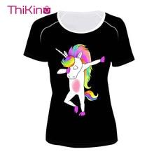 Thikin Unicorn T-Shirts Women Tops Casual Summer Animals Skr Female T Shirt Lady Short Sleeve Girl Punk Camiseta Feminina tee