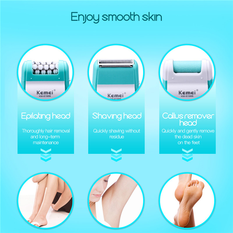 Image 3 - 220 240V Rechargeable 3 In1 Lady Shaver Epilator Multifunction Electric Women Shaver Razor Callus Remover Foot File Pedicure Kit-in Epilators from Home Appliances