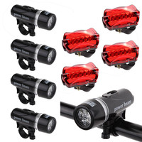 G2 Portable 4 X Waterproof Lamp Bike Bicycle Front 5 LED Head Light Rear Safety Flashligh