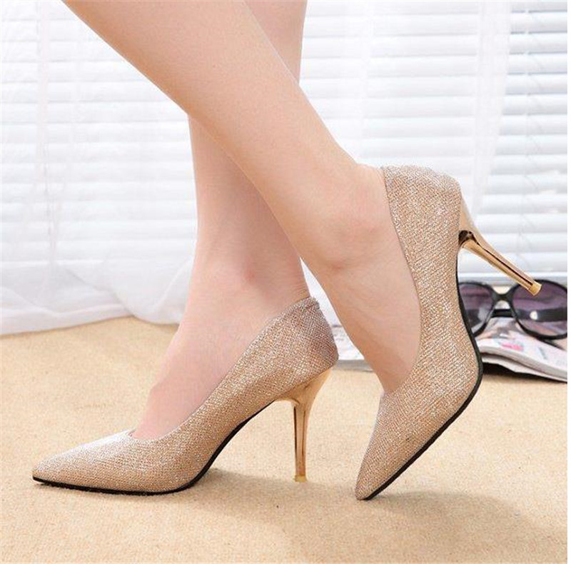 2015 spring and autumn gold paillette crystal wedding shoes bridal shoes high heels shallow mouth pointed toe thin heels single 8cm 2015 spring and autumn single shoes cutout hasp pointed toe high heels ol thin female fashion sandals