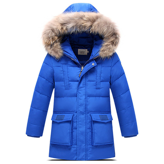 2016 Winter Children Down & Parkas Down Jacket Boys Fashion Hooded  Fur Collar Thick Warm Long Solid Boys Winter Coats Hot Sale
