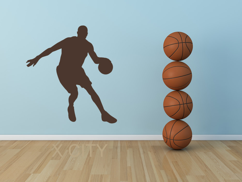 Basketball Player Dribbling College Dorm Decor Silhouette Wall Art Sticker Vinyl Decal Kids Room Stencil Mural Home Office And Digestion Helping Home & Garden