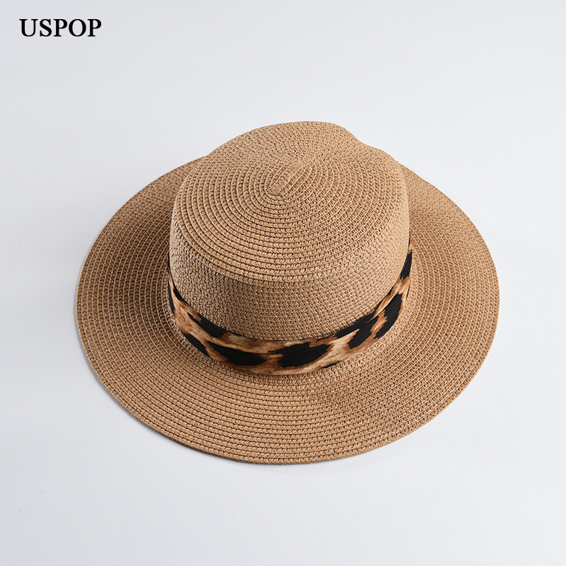 USPOP 2019 summer flat top straw hat new Leopard Print paper straw sun hat fashion summer wide brim beach hat (China)