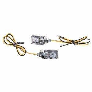 Image 2 - 1 쌍 6LED 12V 오토바이 미니 턴 신호등 앰버 블 링커 표시기 크루저 쵸퍼 투어링 듀얼 용 작은 직사각형 램프