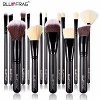 BLUEFRAG 15Pcs Makeup Brushes Set Power Foundation Blending Contour Blush Eye Brow Shadow highlighter Make Up Brush Beauty Tools