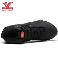 XIANG GUAN Man Hiking Shoes Men Waterproof Trekking Boot Medium Cut Black Breathable Sport Climbing Shoe Outdoor Walking Sneaker