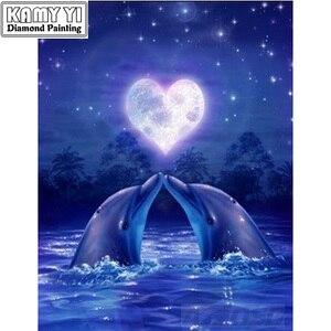 Kits de pintura 3d DIY, bordado de diamantes, pintura de animales de diamante, delfines de amor, Kit de punto de cruz, mosaico