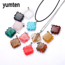 Yumten Natural Crystal Pendants Stone Silver Plate Jewelry Women Charms Necklace Pendulo Make Up Gravity Falls Berloque Blush