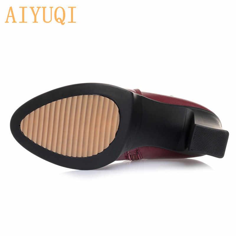 AIYUQI/ботинки из натуральной кожи; женская обувь; большие размеры 12; обувь с круглым носком на квадратном каблуке; Модные женские повседневные ботильоны