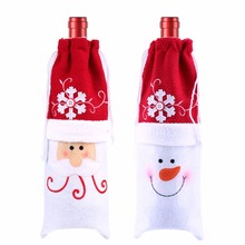 Christmas Xmas Wine Bottle Covers Bag Santa Claus Snowman Bottle Cover Dinner Table Decoration for Home New Year Products