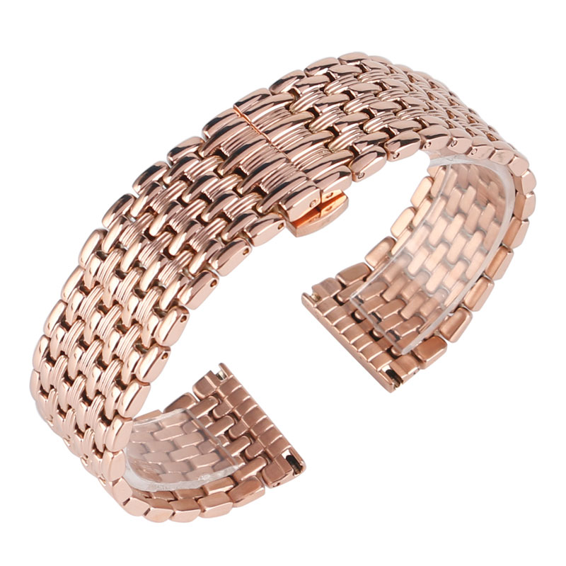 Fashion Rose Gold Stainless Steel 18mm 20mm 22mm Watch Band Strap Replacement Women Bracelet Adjustable Watchband + Spring Bars