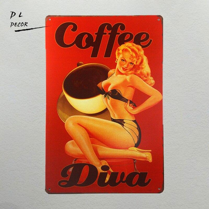 DL-Coffee Diva pin up dívka kovové znamení Metal art Dekorace pro Bar Pub Shop Shop