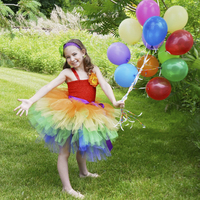 2016 Summer Girls Party Dress Rainbow Tutu Dress For Baby Four Layer Tulle With Orange Flower