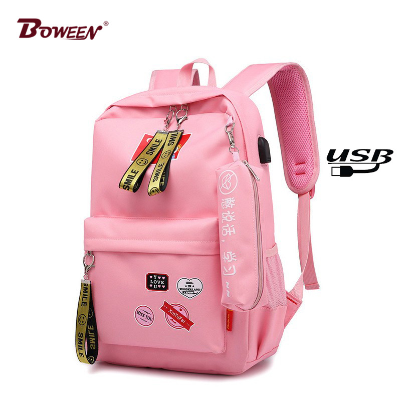 2019 Fashion Style Canvas Women Backpack For Girl Teens Printing School Bag USB Charging Large Back Pack Teenager Schoolbag Cute