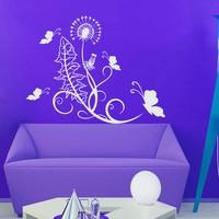 Art Design Kwiaty Mniszka Lekarskiego Blossom Naklejki Ścienne Motyle Naklejki Ścienne Dla Pokoju Gościnnego Decor Wymienny Winylowe