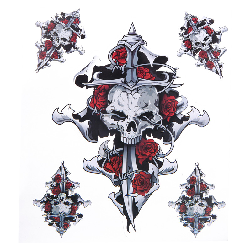 1PCS Self-adhesive Red Rose Skull Motorcycle Stickers Motor Decals Helmet Stickers Car Styling Decoration Cool Car Sticker