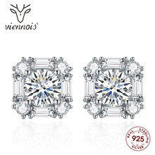 Viennois Fashion 925 Silver Stud Earrings White Square Earring for Women Zircon Jewelry