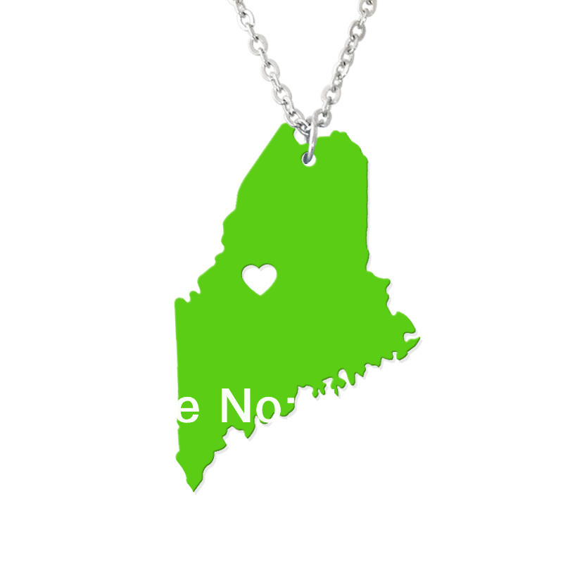 Personalized State Necklace - I heart Maine Necklace - Acrylic State Charm - Map necklace-Custom Map Pendant