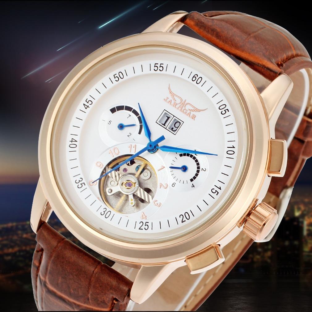 Jargar Automatic Rose Gold Men Wristwatch Tourbillon Brown Leather Strap все цены