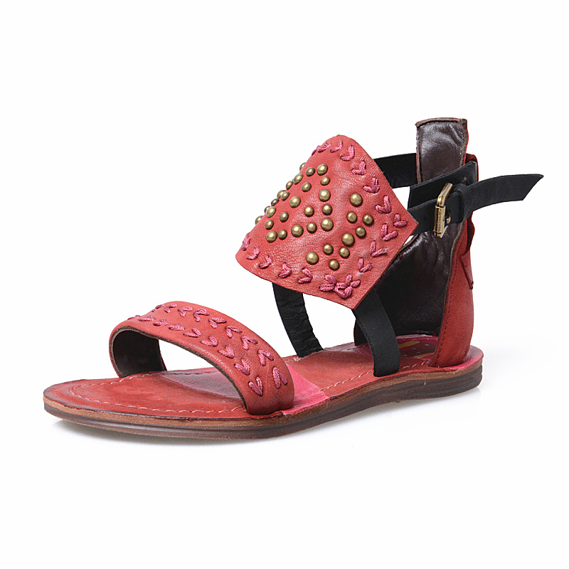 da9a3ec78078 Jady Rose Fashion Red Women Genuine Leather Gladiator Sandals Rivets  Studded Flat Shoes Woman Embroidery Casual Beach Flats-in Low Heels from  Shoes on ...