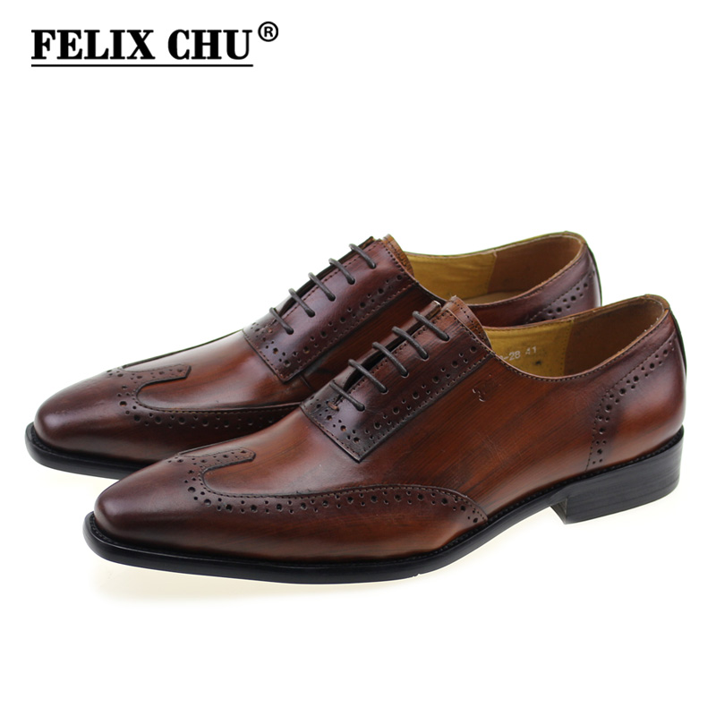 FELIX CHU 2018 European Style Men Brown Genuine Cow Leather Oxfords Mens Lace Up Pointed Toe Dress Shoes Male Brogues #E7969-28 hot sale mens genuine leather cow lace up male formal shoes dress shoes pointed toe footwear multi color plus size 37 44 yellow