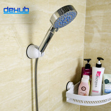 Dehub High Quality New Practical Adjustable Shower Elegant Sucker Stand Bracket Holder For Bathroom Silver  Head