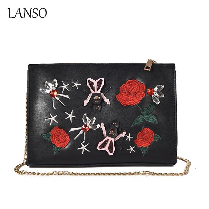 LANSO Female Bag Rose Embroidery Red Flower Bag Chain Fashion Portable Messenger Bag Pu Leather Ladies Day Clutches Envelope Bag педальна машина pilsan speedy синий 07 312