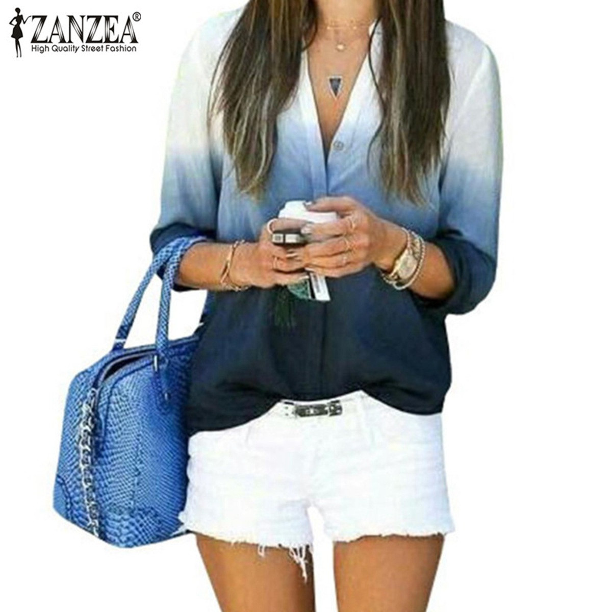 2016 moda mulheres Blusas Casual lazer manga comprida Sexy decote em V Blusas Ladies solto cor gradiente camisas Tops Plus Size S-3XL